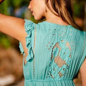 New Tiare Hawaii Krawang Kimono Maxi Dress Teal OS